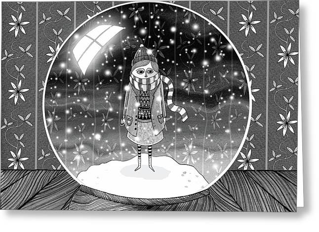 The Girl In The Snow Globe  Greeting Card