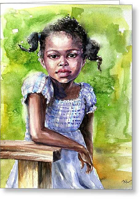 The Girl On The Veranda Greeting Card