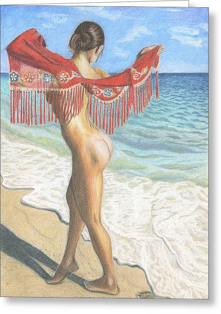Nude Woman On The Ocean Beach Greeting Card
