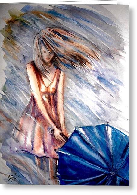 The Girl With A Blue Umbrella Greeting Card