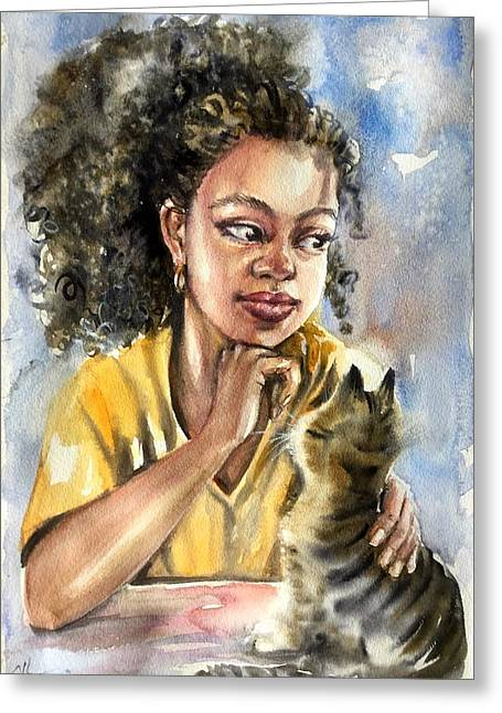 The Girl With A Cat Greeting Card