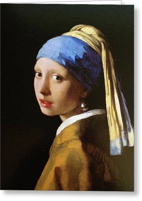 The Girl With A Pearl Earring Greeting Card by MotionAge Designs
