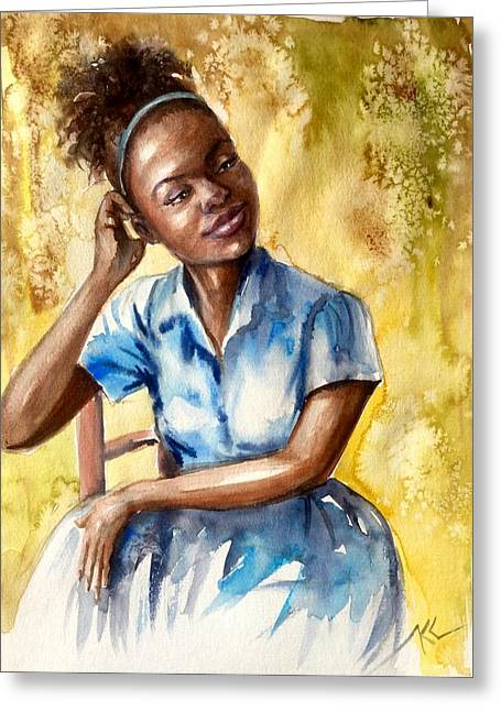 The Girl With The Blue Dress Greeting Card