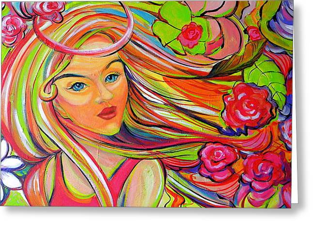 The Girl With The Flowers In Her Hair Greeting Card