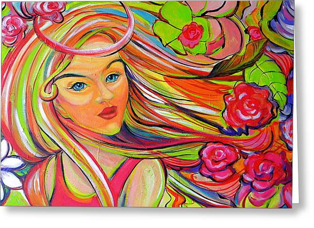 The Girl With The Flowers In Her Hair Greeting Card by Jeanette Jarmon