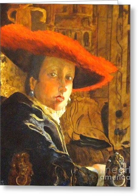 The Girl With The Red Hat After Jan Vermeer Greeting Card by Dagmar Helbig
