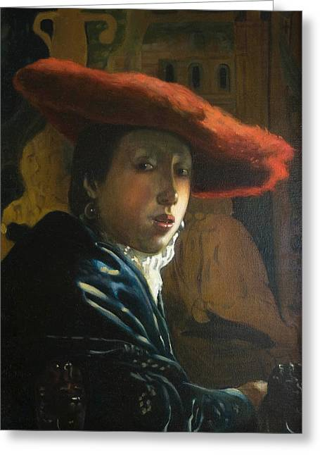 The Girl With The Red Hat By D.amendola After Vermeer Greeting Card by Dominique Amendola