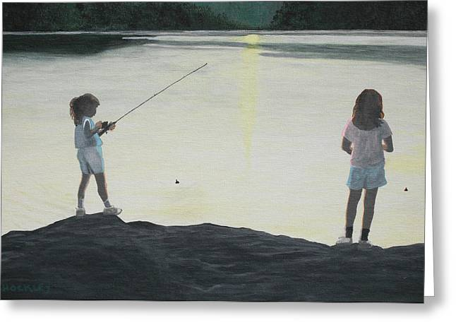 The Girls At The Lake Greeting Card by Candace Shockley