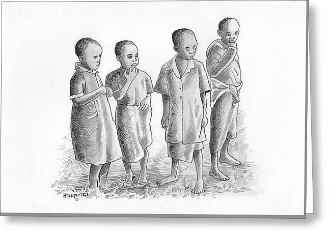 Children Together Greeting Card by Anthony Mwangi