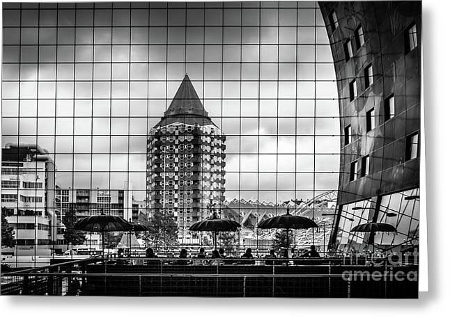 Greeting Card featuring the photograph The Glass Windows Of The Market Hall In Rotterdam by RicardMN Photography