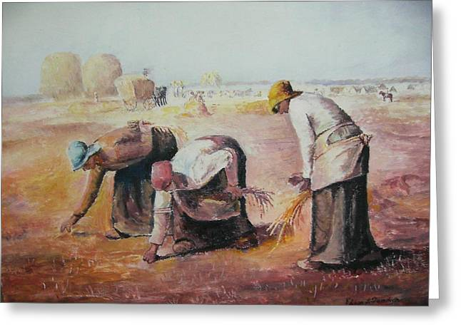 The Gleaners After Millet By My Dad Greeting Card by Anne-Elizabeth Whiteway