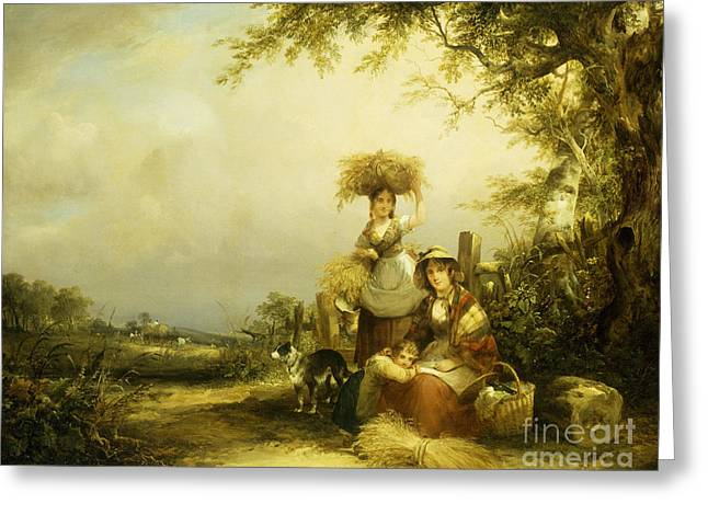 The Gleaners Shirley, Hants Greeting Card by William Shayer Snr