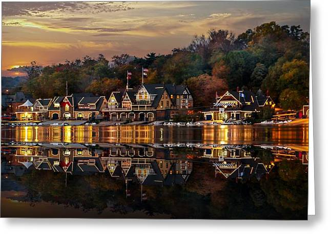 The Glow Of Boat House Row Reflection Greeting Card by Gene Rooney