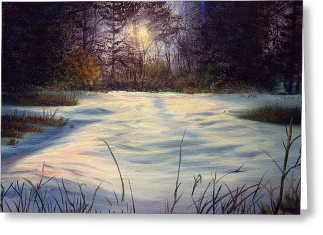 The Glow Of Winter Greeting Card by Tommy  Winn