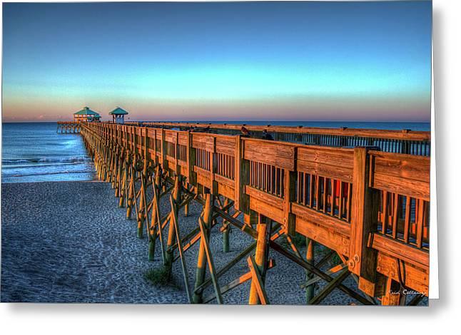 The Glowing Folly Beach Pier Sunrise Charleston South Carolina Art Greeting Card by Reid Callaway