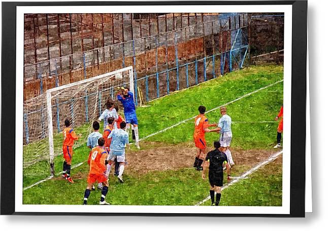The Goalkeeper Saves A Goal Greeting Card by John Vito Figorito