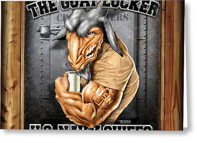 The Goat Locker Greeting Card by Patriot 1