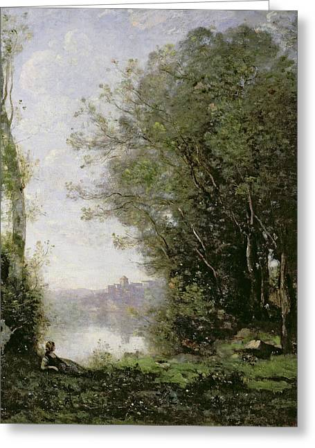 Jean-baptiste Greeting Cards - The Goatherd beside the Water  Greeting Card by Jean Baptiste Camille Corot