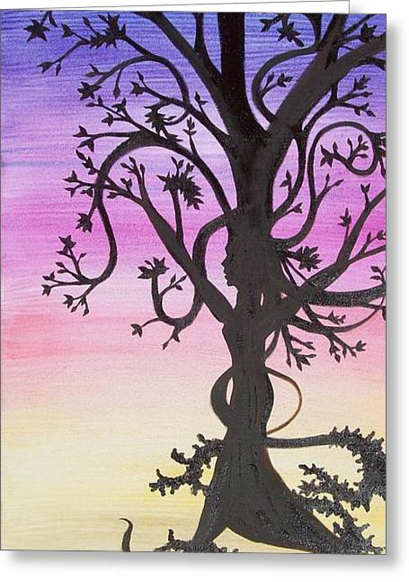 The Goddess Tree Greeting Card by Amy Lauren Gettys