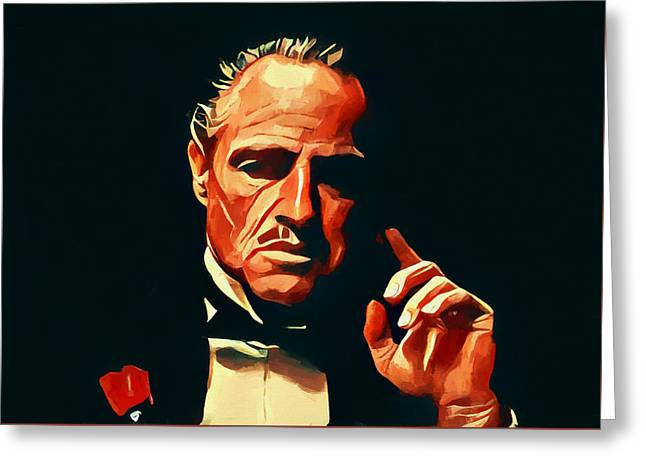 The Godfather Portrait Greeting Card by Dan Sproul