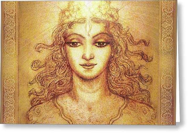 The Golden Angel With Crown Of Light Greeting Card
