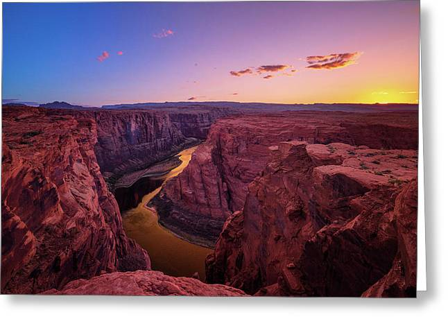 Greeting Card featuring the photograph The Golden Canyon by Edgars Erglis