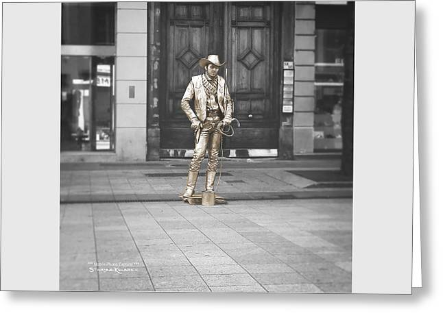 Greeting Card featuring the photograph The Golden Cowboy by Stwayne Keubrick