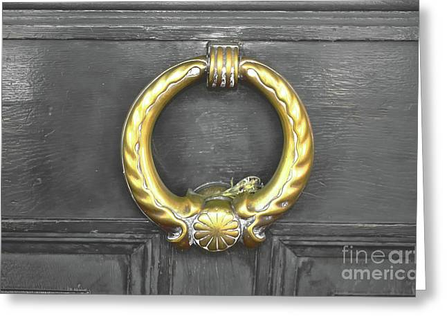 The Golden Door Knocker Greeting Card by Michelle Meenawong