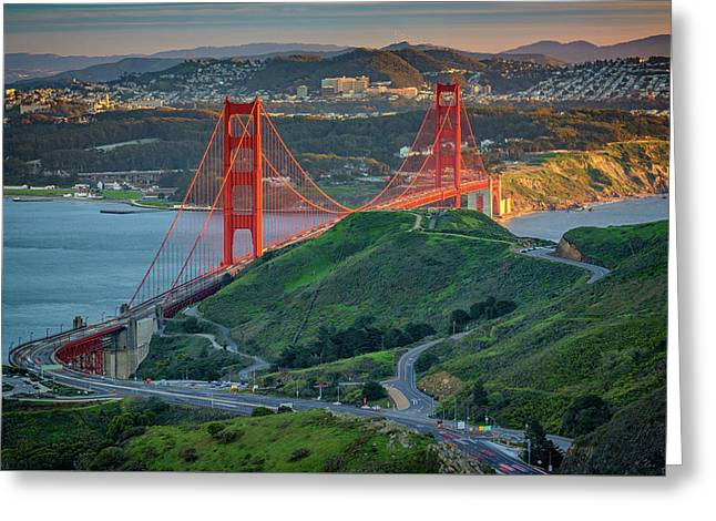 The Golden Gate At Sunset Greeting Card by Rick Berk