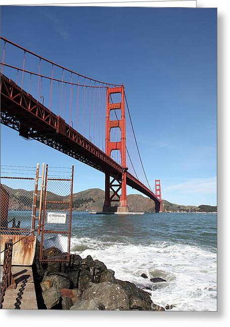 The Golden Gate Bridge At Fort Point - 5d21473 Greeting Card by Wingsdomain Art and Photography