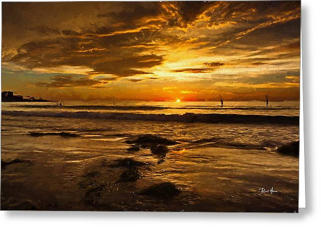 The Golden Hour At La Jolla Shores Greeting Card by Russ Harris