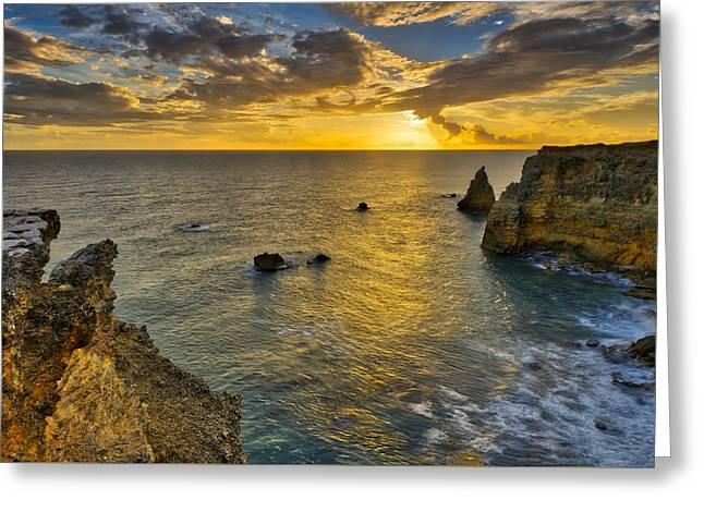 Greeting Card featuring the photograph The Golden Hour - Cabo Rojo - Puerto Rico by Photography By Sai