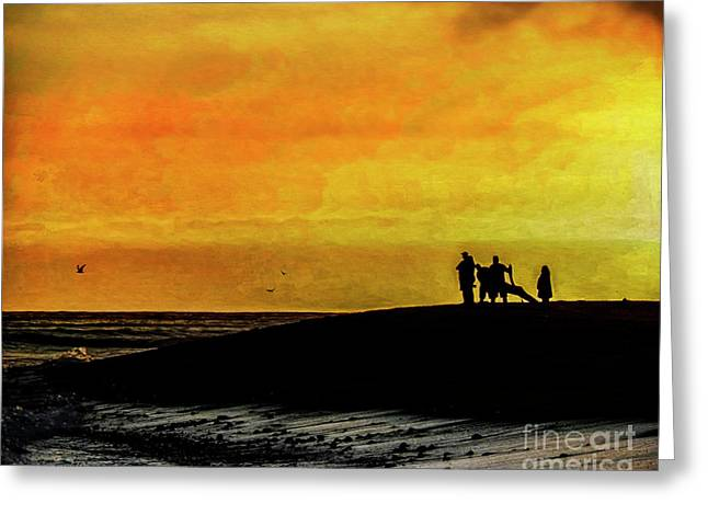 Greeting Card featuring the digital art The Golden Hour II by Rhonda Strickland