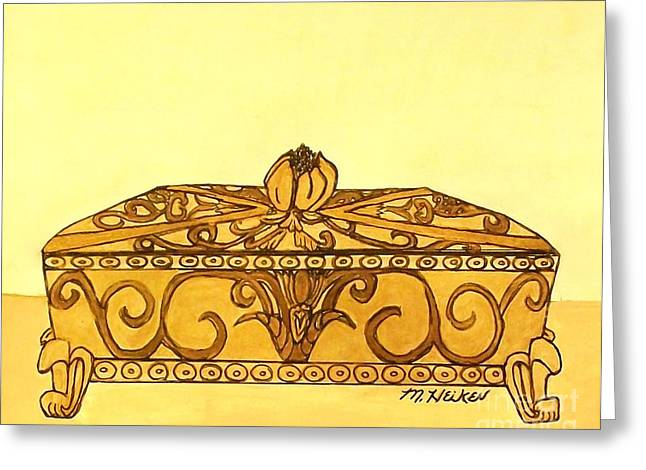 The Golden Jewelry Box Greeting Card by Marsha Heiken