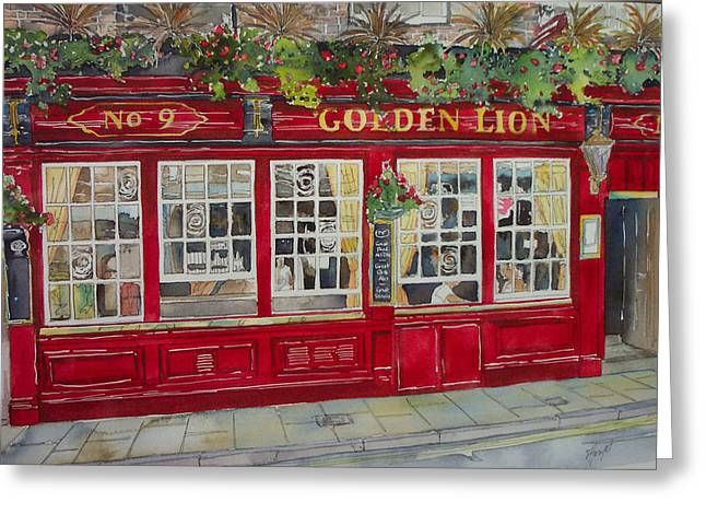 The Golden Lion Pub Greeting Card by Victoria Heryet