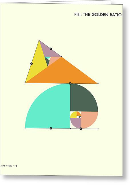 Phi - The Golden Ratio Greeting Card by Jazzberry Blue