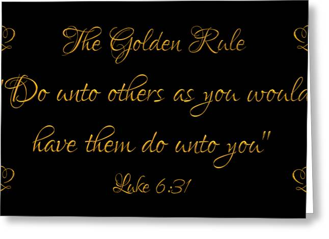 The Golden Rule Do Unto Others On Black Greeting Card