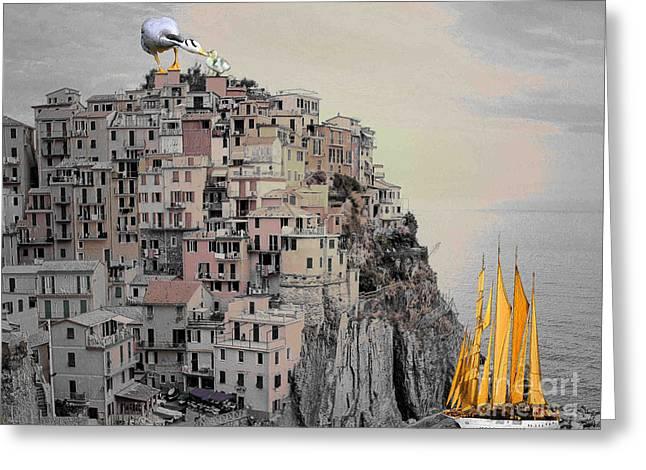 The Golden Sails Greeting Card by Mojo Mendiola