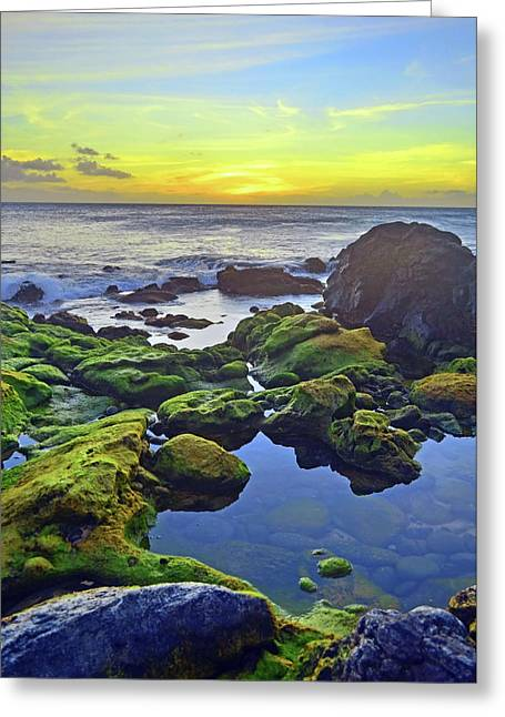 Greeting Card featuring the photograph The Golden Skies Of Molokai by Tara Turner