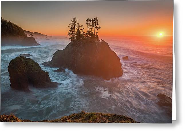 Greeting Card featuring the photograph The Golden Sunset Of Oregon Coast by William Lee