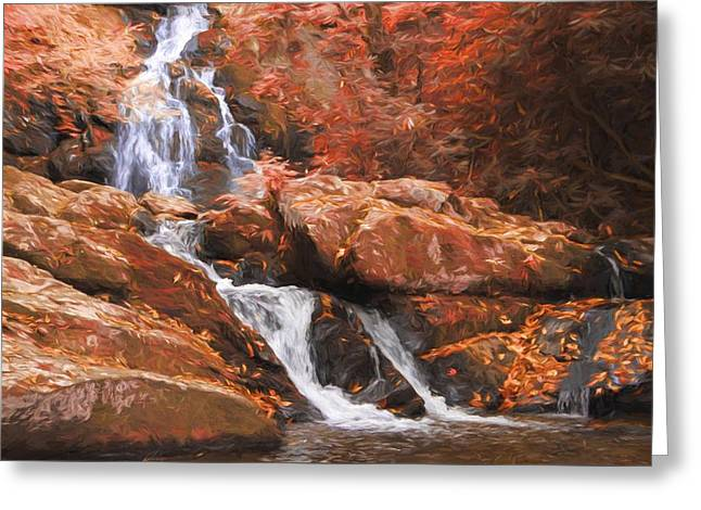The Golden Waterfall Greeting Card by Dan Sproul