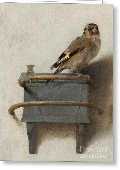 The Goldfinch, 1654  Greeting Card by Carel Fabritius