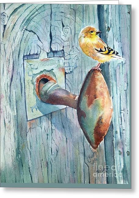The Goldfinch And Blue Greeting Card by Patricia Pushaw