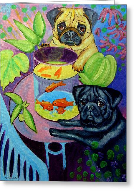 The Goldfish Bowl - Pug Greeting Card by Lyn Cook