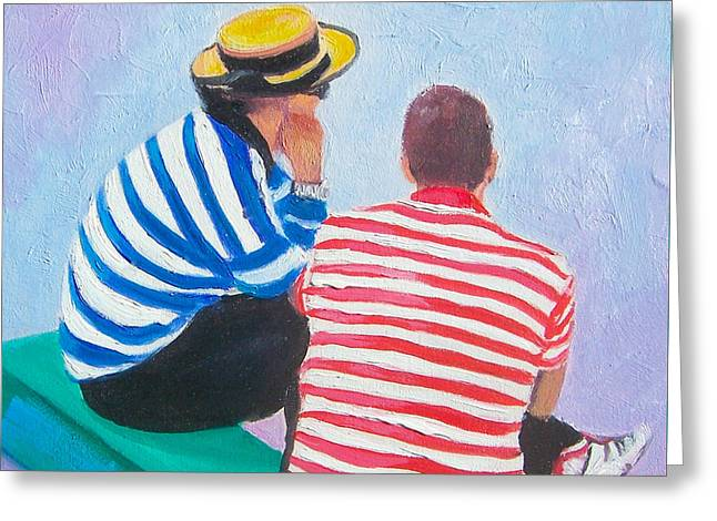 The Gondoliers - Venice Greeting Card by Jan Matson