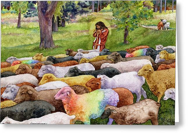 The Good Shepherd Greeting Card by Anne Gifford
