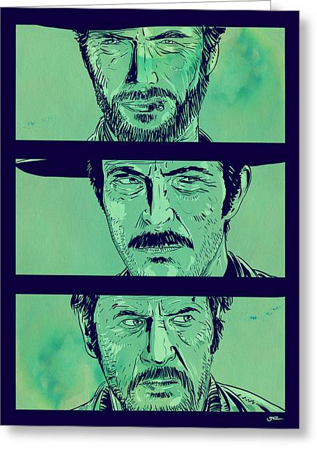 Drawings Greeting Cards - The Good the Bad and the Ugly Greeting Card by Giuseppe Cristiano