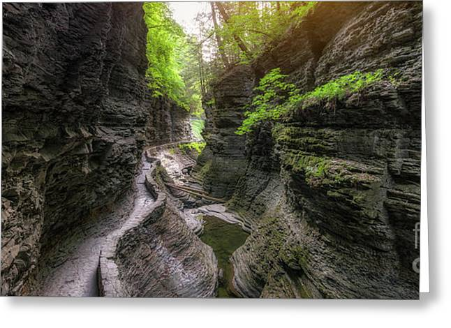 The Gorge Trail Panorama  Greeting Card by Michael Ver Sprill