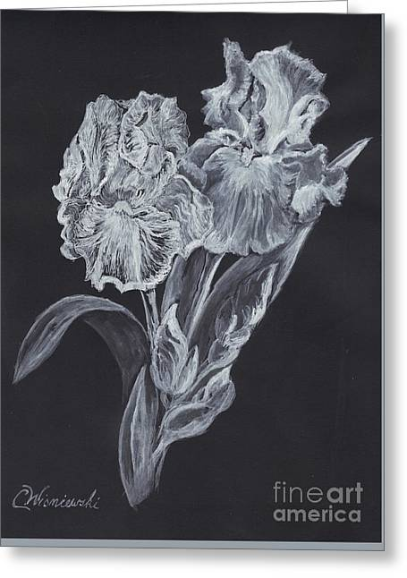 Greeting Card featuring the painting The Gossamer Iris by Carol Wisniewski