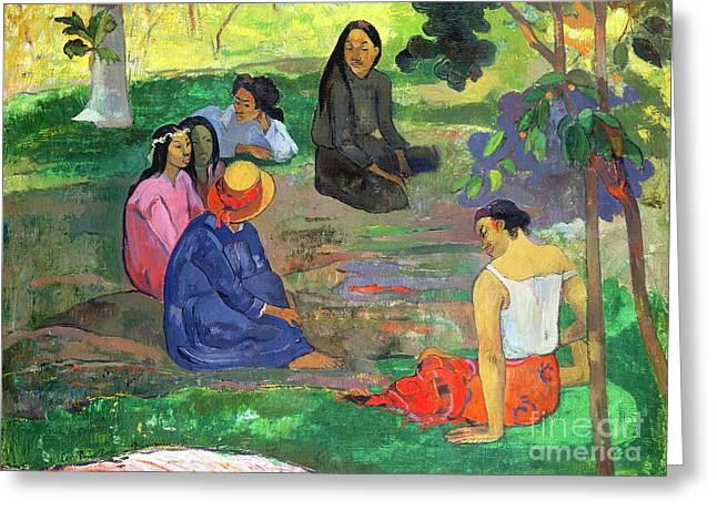 Or Conversation Greeting Cards - The Gossipers Greeting Card by Paul Gauguin